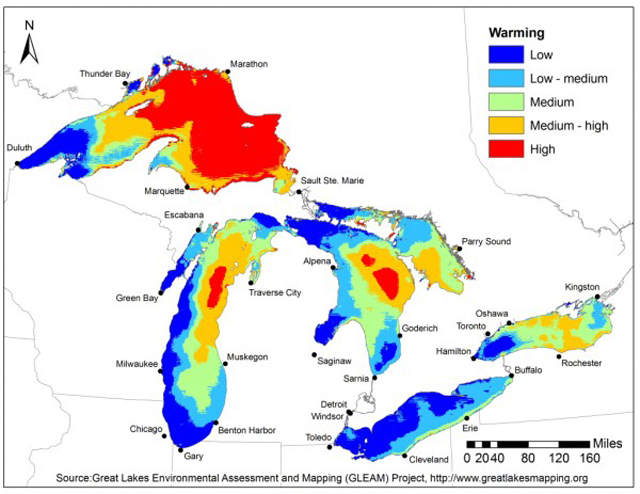 Great Lakes Warming Map