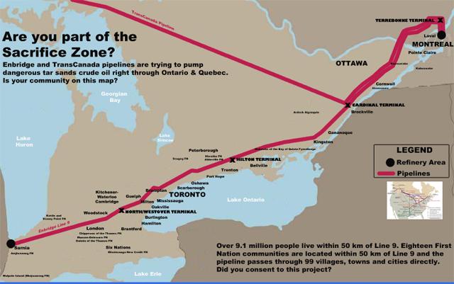Enbridge Line 9 Pipeline route